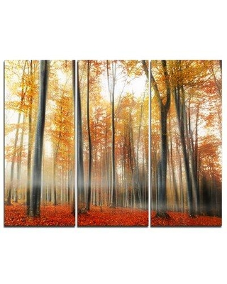 """Design Art Red & Yellow Leaves in Fall - 3 Piece Graphic Art on Wrapped Canvas Set, Canvas & Fabric in Brown/Yellow, Size Medium 25""""-32"""" 