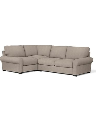 Turner Roll Arm Upholstered Right Arm 3-Piece Corner Sectional, Down Blend Wrapped Cushions, Sunbrella(R) Performance Sahara Weave Mushroom