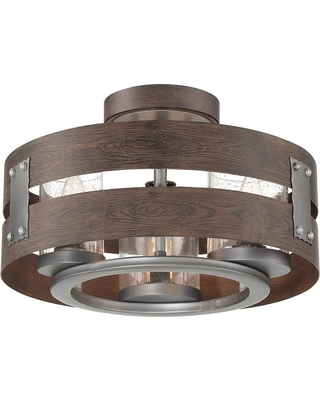 Eurofase 3-Light Expresso Clear Glass Semi-Flushmount and Pendant