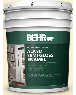 New Deal For Behr 5 Gal Yl W03 Honied White Urethane Alkyd Semi Gloss Enamel Interior Exterior Paint