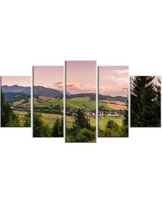 Design Art 'Beautiful Stretch of Land Panorama' 5 Piece Photographic Print on Wrapped Canvas Set, Canvas & Fabric in Blue/Orange | Wayfair