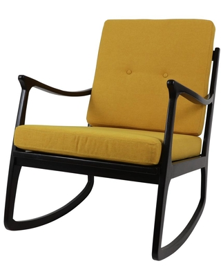 Decor Therapy Armando Dark Brown Rocking Arm Chair with Gold Cushions, Dark Brown and Gold Finish