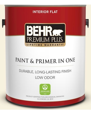 BEHR PREMIUM PLUS 1 gal. #350A-1 Ruffled Clam Flat Low Odor Interior Paint and Primer in One