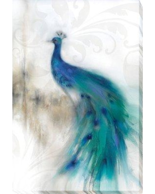 """Artistic Home Gallery 'Jewel Plumes II' Oil Painting Print on Wrapped Canvas, Canvas & Fabric in Brown/Blue, Size 24"""" H x 36"""" W x 1.5"""" D   Wayfair"""