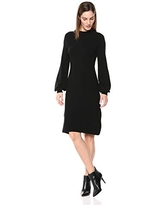 Lark & Ro Women's Mock Neck Fit and Flare Sweater Dress with Bell Sleeves, Black, X-Small