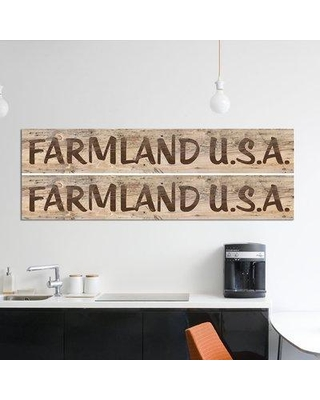 """East Urban Home 'Farm Sign 2-up I' Graphic Art Print on Wrapped Canvas ERBS7026 Size: 20"""" H x 60"""" W x 1.5"""" D"""