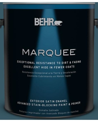 BEHR MARQUEE 1 gal. #S470-1 Cloudy Sky Satin Enamel Exterior Paint and Primer in One