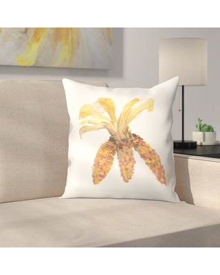 "East Urban Home Jetty Printables Watercolor Autumnal Corn Throw Pillow EUHG3730 Size: 16"" x 16"""
