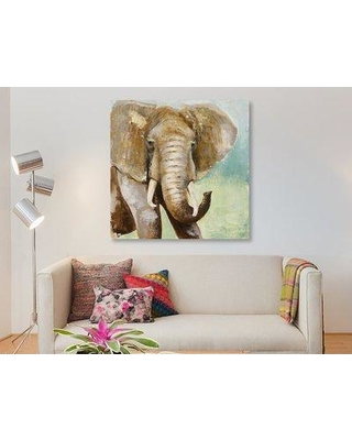 """East Urban Home 'Painterly Elephant' Oil Painting Print on Wrapped Canvas ESUH7648 Size: 26"""" H x 26"""" W x 1.5"""" D"""