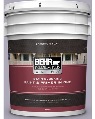 BEHR ULTRA 5 gal. #ICC-98 Lilac Bloom Flat Exterior Paint and Primer in One