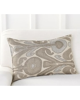 """Kenmare Ikat Embroidered Lumbar Pillow Cover, 16x26"""", Neutral Multi"""