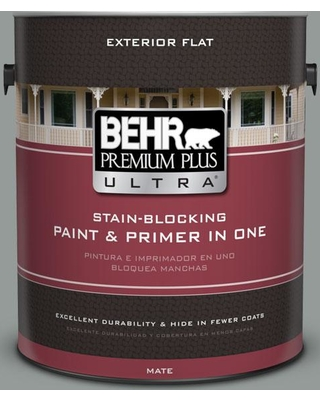 BEHR Premium Plus Ultra 1 gal. #bxc-66 Dusk Blue Flat Exterior Paint and Primer in One