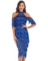 Milanoo Evening Dress Blue Short Sleeve Polyester Sequins Split Cut-Outs Gowns Party Dress Bodycon Pageant Dress