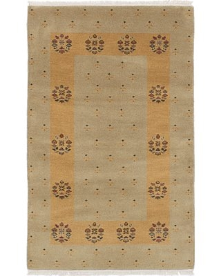 One-of-a-Kind Renley Hand-Knotted Wool Khaki Area Rug Isabelline