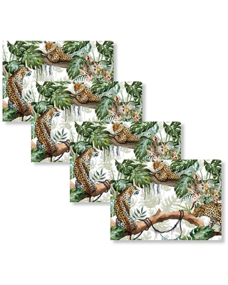 Morgan Home Fashions Leopard Jungle 18 in. W x 13 in. L Polypropylene 4-pack Placemat Set, Green