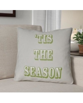 """The Holiday Aisle Tis the Season Indoor/Outdoor Throw Pillow HLDY1187 Size: 20"""" H x 20"""" W x 4"""" D, Color: Gray / Green"""