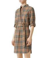 Women's Burberry Giovanna Vintage Check Long Sleeve Stretch Cotton Shirtdress, Size 6 - Beige