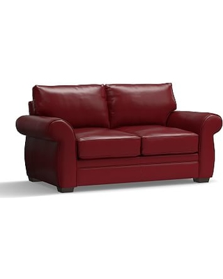 "Pearce Leather Loveseat 73"", Down Blend Wrapped Cushions, Leather Signature Berry Red"