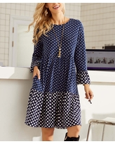 Suzanne Betro Dresses Women's Casual Dresses 101NAVY/IVORY - Navy & Ivory Polka Dot Tiered Bell Sleeve Shift Dress - Women & Plus