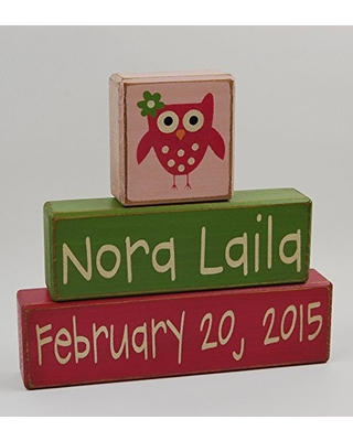 Personalized Custom Name and Birthdate - Primitive Country Wood Stacking Sign Blocks-First Birthday-Centerpiece-Baby-Boys/Girls Nursery Room Decor-Owl Decor
