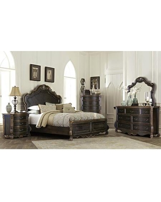 Bordeaux Collection BR400-Q Queen Size Bed with Camelback Headboard and EPA Certified in Espresso Oak