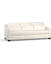 """York Square Arm Upholstered Deep Seat Grand Sofa 94"""" with Bench Cushion, Down Blend Wrapped Cushions, Denim Warm White"""