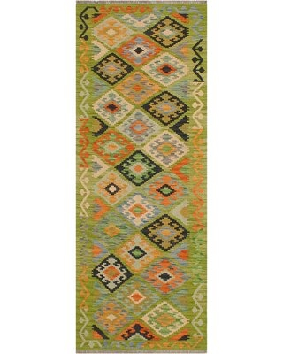 """One-of-a-Kind Ceporah Hand-Knotted 1990s 2'8"""" x 7'11"""" Runner Wool Area Rug in Green/Rust"""