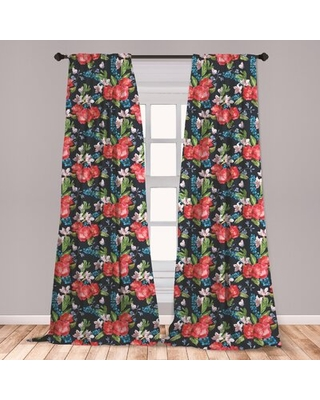 "Floral Room Darkening Rod Pocket Curtain Panels East Urban Home Size per Panel: 28"" x 95"""