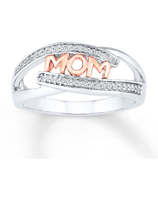 Mom Ring 1/10 ct tw Diamonds Sterling Silver
