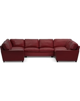 Turner Square Arm Leather 5-Piece U-Shaped Sectional, Down Blend Wrapped Cushions, Signature Berry Red