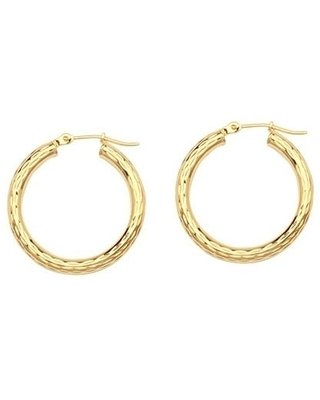 14kt Yellow Gold 3x25mm Polished Round Hoop Earrings
