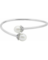 PearLustre by Imperial Sterling Silver Freshwater Cultured Pearl Bypass Bangle Bracelet, Women's, White
