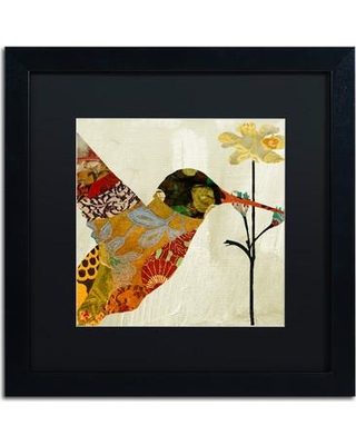 "Trademark Art 'Hummingbird Brocade III' by Color Bakery Framed Graphic Art ALI4124-B1 Size: 11"" H x 11"" W x 0.5"" D Mat Color: Black"