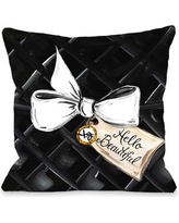 "One Bella Casa Hello Beautiful Bow Glitter Throw Pillow 73059PL18 Size: 18"" x 18"""