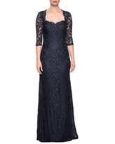 La Femme Lace Trumpet Gown, Size 20 in Navy at Nordstrom