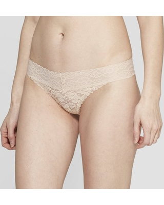 60a501aa5560 BIG Deal on Women's All Over Lace Thong - Auden Soft Beige M