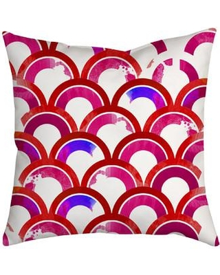 """SafiyaJamila Fish Scales Watercolor Geometric Indoor/Outdoor Throw Pillow Fishscales_Blue Size: 20"""" H x 20"""" W x 2"""" D Color: Pink"""