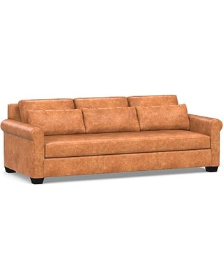 "York Deep Seat Roll Arm Leather Grand Sofa 98"" with Bench Cushion, Polyester Wrapped Cushions, Statesville Caramel"