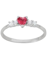 Junior Jewels Kids' Sterling Silver Cubic Zirconia Heart Ring, Girl's, Size: 3, Pink