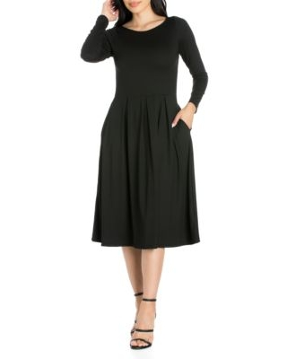 24Seven Comfort Apparel Women's Long Sleeve Fit And Flare Midi Dress -