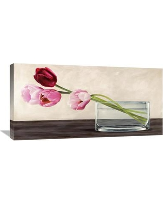 """Global Gallery 'Modern Composition Tulips' by Shin Mills Painting Print on Wrapped Canvas GCS-393653-1224-142 / GCS-393653-1836-142 Size: 18"""" H x 36"""" W x 1.5"""" D"""