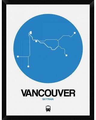 "Naxart 'Vancouver Blue Subway Map' Framed Graphic Art Print on Canvas GCF-465156 Size: 34"" H x 26"" W x 1.5"" D"