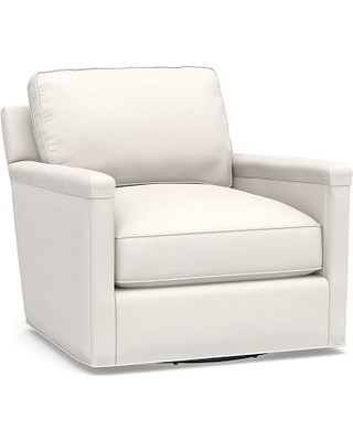Tyler Square Arm Upholstered Swivel Armchair without Nailheads, Polyester Wrapped Cushions, Performance Everydaylinen(TM) by Crypton(R) Home Ivory