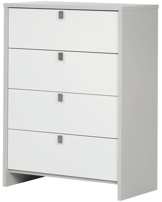 Cookie 4-Drawer Chest Soft Gray and Pure White - South Shore