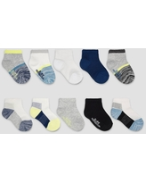 Fruit of the Loom Baby Boys' 10pk Beyondsoft Grow and Fit Ankle Socks - Green/Blue 12-24M