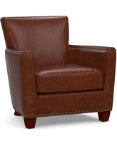 Charmant Irving Square Arm Leather Armchair With Bronze Nailheads, Polyester Wrapped  Cushions, Statesville Molasses