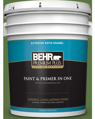 BEHR Premium Plus 5 gal. #420D-7 Dill Pickle Satin Enamel Exterior Paint and Primer in One