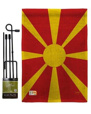 Great Prices For Breeze Decor Macedonia The World Nationality Impressions 2 Sided Burlap 19 X 13 In Flag Set In Red Yellow Wayfair