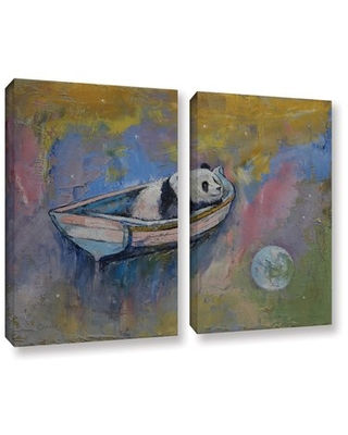 Panda Moon by Michael Creese 2 Piece Painting Print on Gallery Wrapped Canvas Set ArtWall