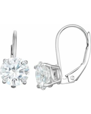 14K Gold 1 Carat T.W. Solitaire Lab-Created Moissanite Leverback Earrings, Women's, White